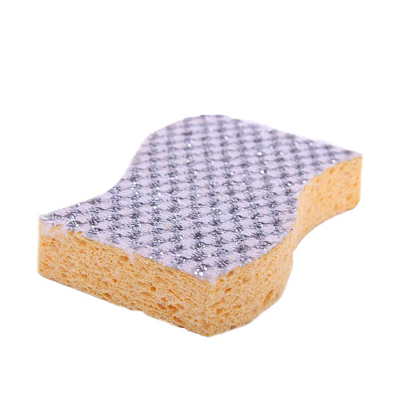 DH-A5-8 High quality Eco-Friendly Multifunction wave Cleaning Kitchen Sponge scourer with Silver onion cloth