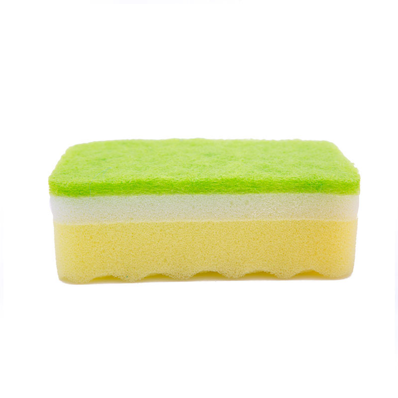 DH-A1-24 Multi-layer composite eco friendly kitchen cleaning sponge with polyester scouring pad