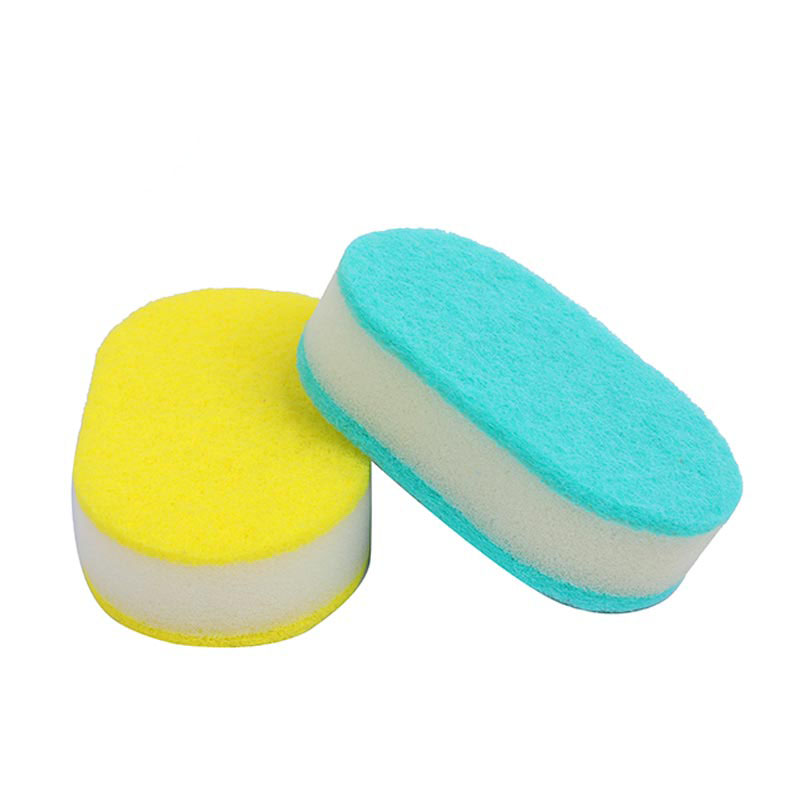 "DH-A1-26 ""Oval"" eco friendly kitchen cleaning sponge with double polyester scouring pad"