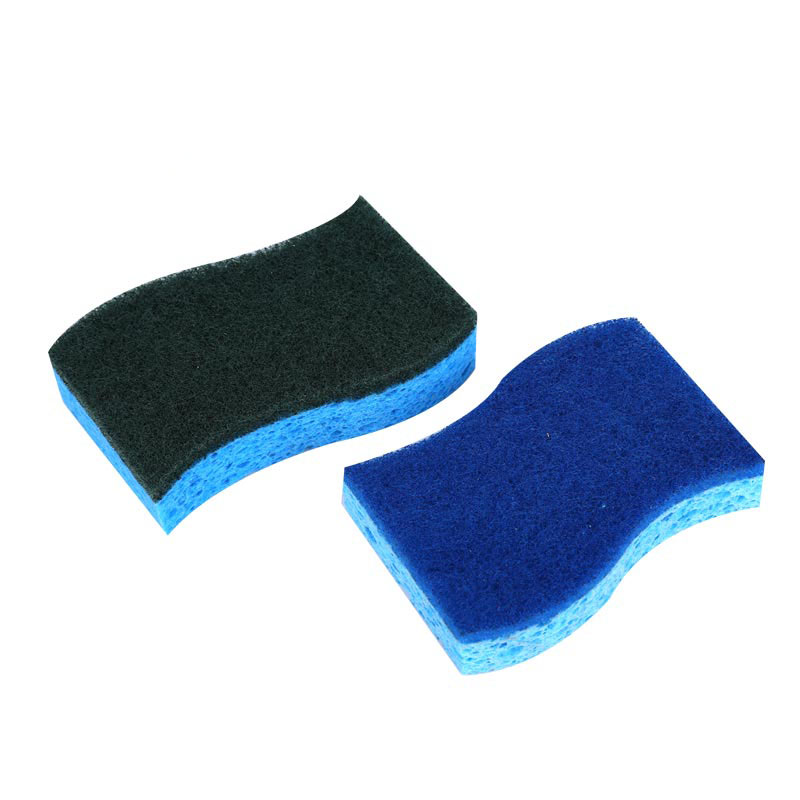 DH-A5-23 Wave shaped kitchen heavy scraping scouring pad cellulose sponge block